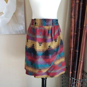 Vintage Southwestern Blanket Wrap Skirt ~ Size M